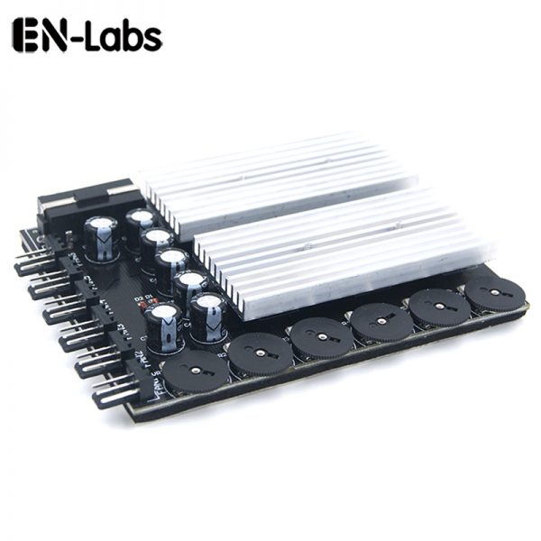 En-Labs 6 Channel 3 pin 4 pin Computer CPU Cooler Case Fan Speed Controller w/ Rubber Backed Tap for PC Case Internal & Mining