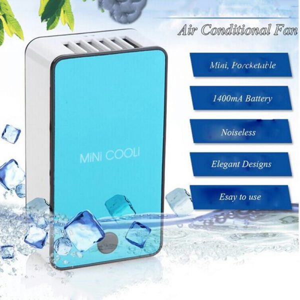 GRTCO 2018 New Mini Portable HandHeld Table Air Conditioner Cooler Cooling USB Rechargeable Battery Bladeless Fan