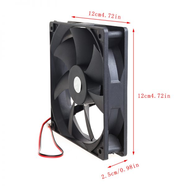 12V 2 Pin Computer Cooler Small Cooling Fan 120mm x 120mm x 25mm PC Box System Hydraulic Cooling Fan For Computer Heatsink