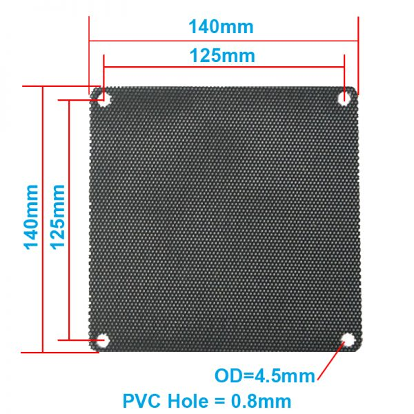5pcs/lot 14CM Computer Mesh Black PVC PC Case Fan Cooler Dust Filter Dustproof Case Cover,140x140mm