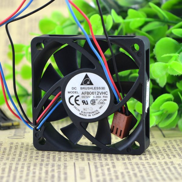 Original DELTA AFB0612VHC 6015 12V 0.36A 6CM 3 wire cooling fan 60x60x13mm