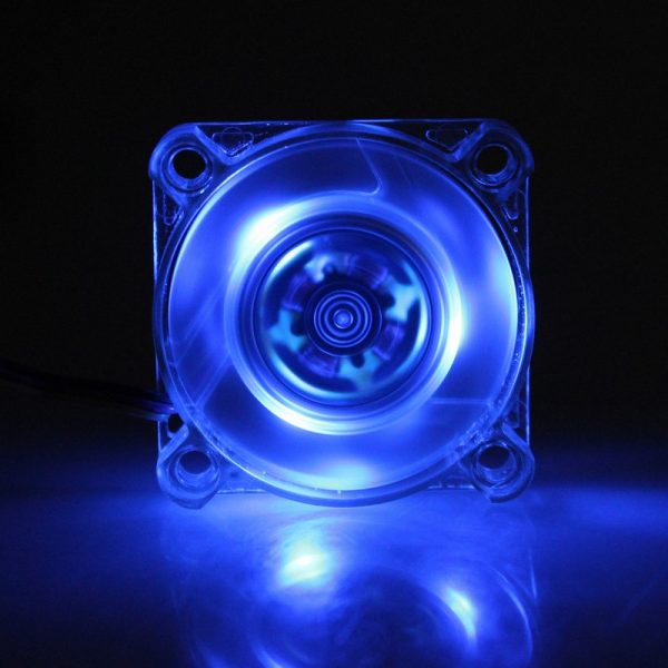 Gdstime 1 Pcs Transparent Blue Mini 40mm LED 4010 12V 3Pin Computer Case Cooler DC Brushless Cooling Fan 40x40x10mm High Speed