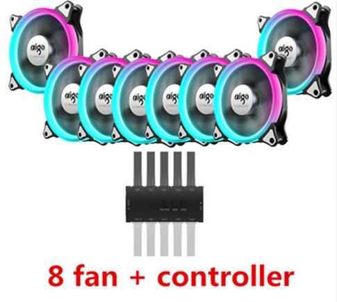 Aigo C5 RGB Adjust LED 120mm Quiet+IR Remote New computer Cooler Cooling RGB Case Fan For CPU 5pcs Computer Case PC Cooling Fan