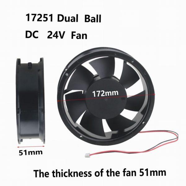 1 pcs Gdstime 172mm x 51mm Ball Bearing 170mm x 50mm Metal DC Cooling Fan 24V 2Pin 17cm Circle Cooler 172x51mm 17251