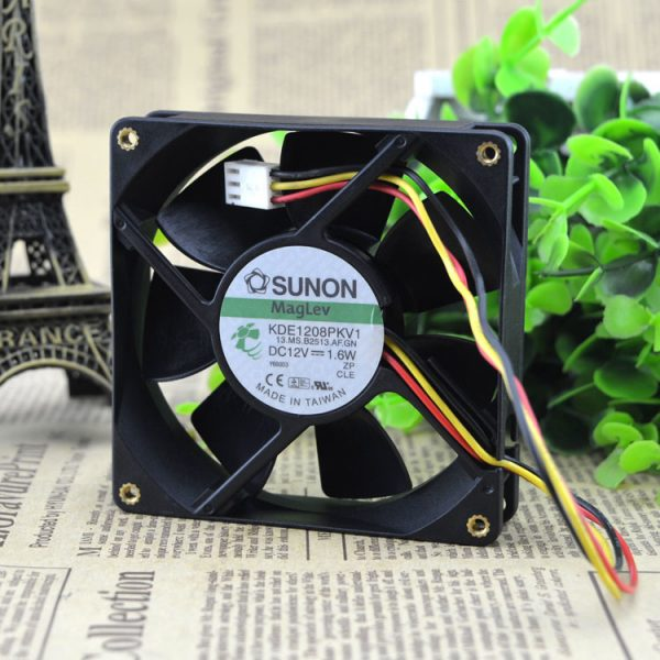 Original SUNON 8025 DC 12V 1.6W 80*80*25MM KDE1208PKV1 3-Wire cooling Fan