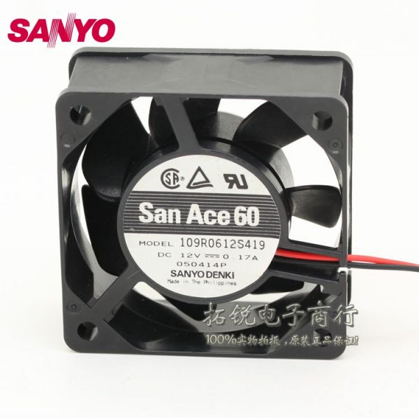 SANYO new 109R0612S419 6025 6cm 12V 0.17A mute double ball bearing chassis fan for 60*60*25MM