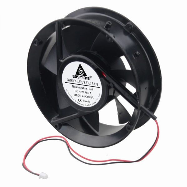 1 pcs Gdstime 48V 170mm x 50mm Metal Case Dual Ball Bearing Industrial DC Cooling Fan 172mm x 51mm Circle Cooler 2P 17cm