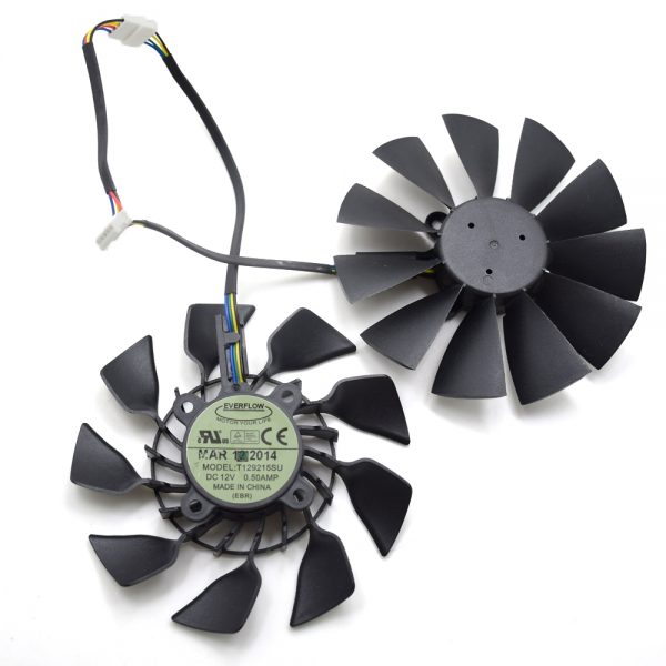 2pcs/lot Everflow T129215SU 95MM DC 12V 0.5AMP EBR GTX 780 780TI R9 390 390X Graphics Card Cooling Fan New Original