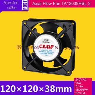 240V AC 50HZ 0.14A 25W 2500RPM 120*38mm Anticorrosion Cooling Radiator Axial Fan TA12038HSL-2 FZY for Electroplate Factory