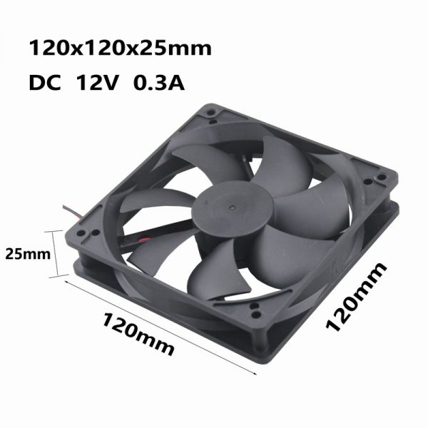 5 pieces Gdstime Two Ball Bearing 120mm x 25mm 12cm DC 12V 5 inches Axial Cooling Fan 120x25mm PC CPU Cooler 0.3A