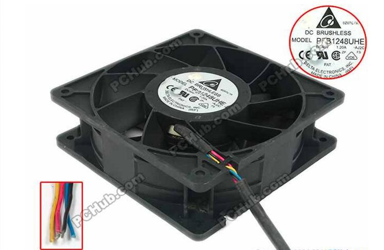 Delta PFB1248UHE AJ2C DC 48V 1 20A 120x120x38mm Server Square Fan