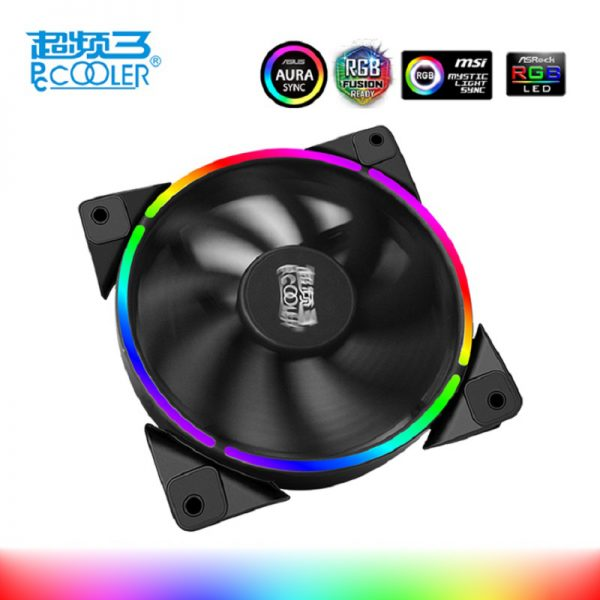 PcCooler 12cm case fan Halo LED AURA RGB 4pin PWM Quiet Suit for CPU cooler Liquid cooler 120mm computer cooling fan 1 PCS