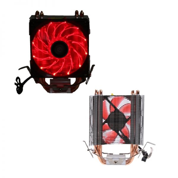 NoEnName_Null 4 Heatpipe 130W Red LED CPU Cooler Fan Aluminum Heatsink For Intel 1156 AM2