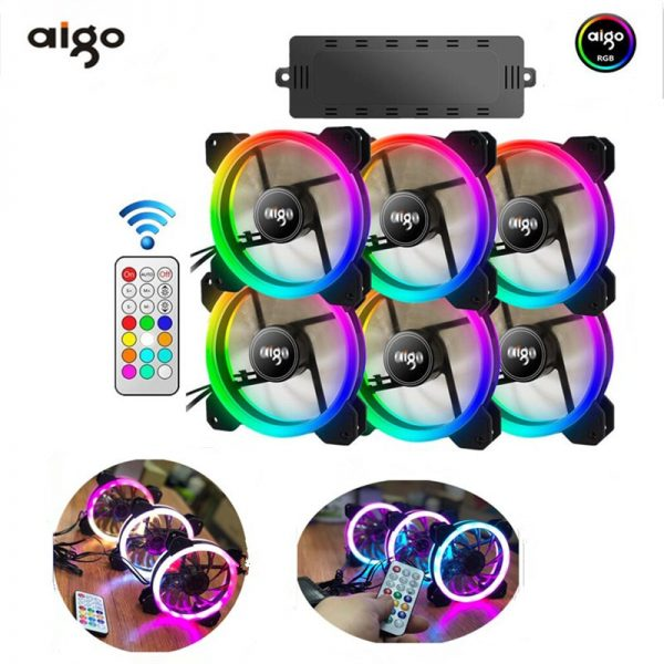 AIGO DR12 RGB case fan 120mm fan cooler Computer fan Dual LED PC IR Remote LED cooling Fan