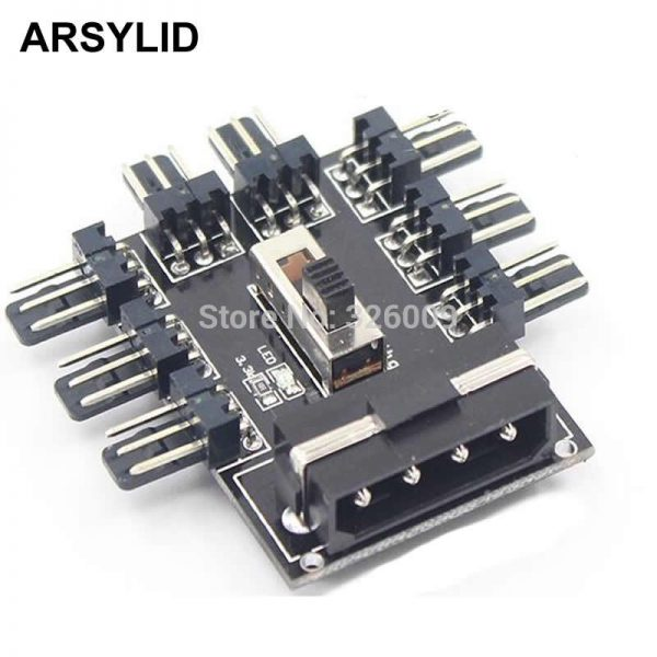 ARSYLID Fan Hub Computer SATA D-4P 1 to 8 Multi Splitter Cooler Cooling 3pin 12V Power Socket Adapter 2 Level Speed Controller