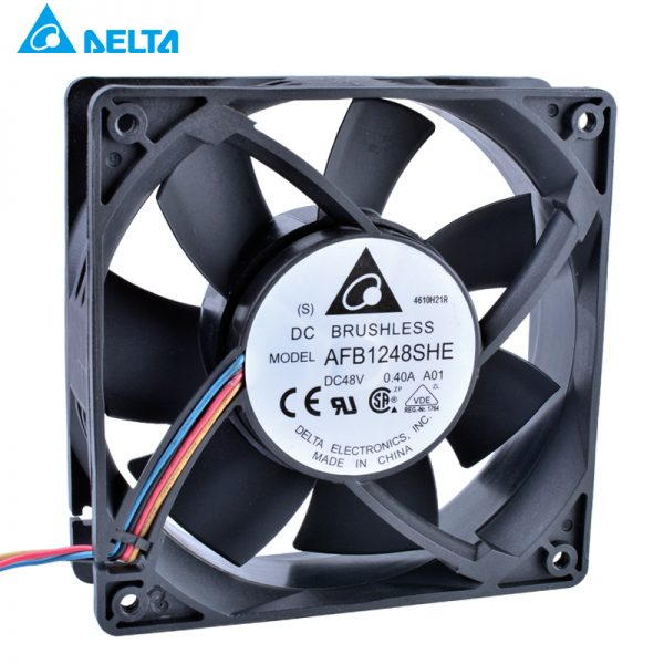 Delta AFB1248SHE 48V 0.40A 12038 12cm 4-wire double ball server Cooling fan