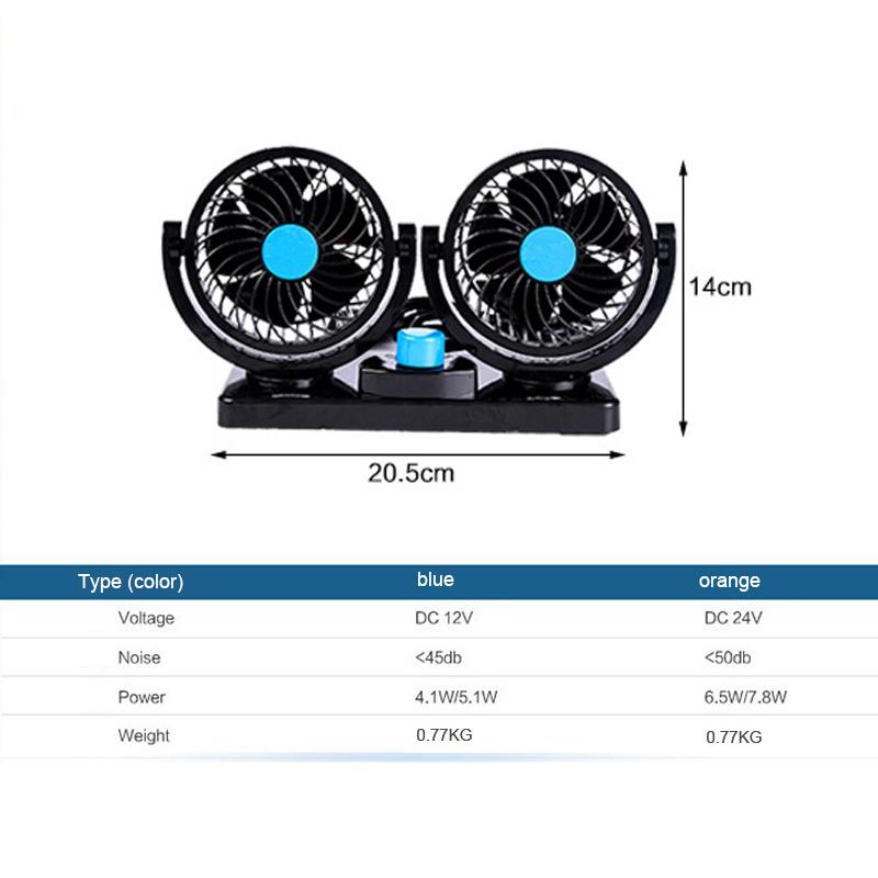 12V/24V Car Air Conditioner Fan Portable Ventilateur Mini Fan Silent 360  Degree Rotating Adjustable Car Air Cooling Fan Blower