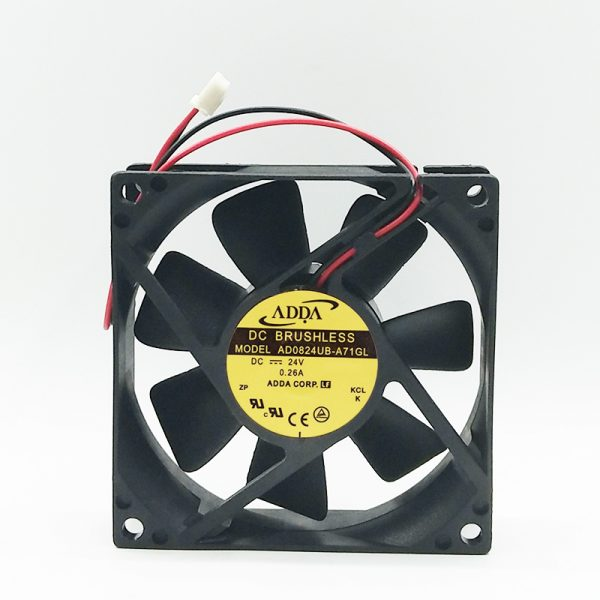 Original ADDA 80x80x25mm AD0824UB-A71GL DC 24V 0.26A 2-Wires axial server inverter Cooling Fan