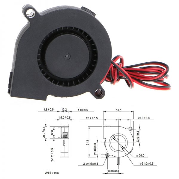 1Pc Blow Radial Cooling Fan 12V DC 50mm Hotend Extruder For RepRap 3D Printer D14