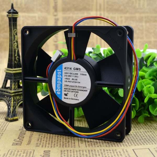Free Delivery. 4314 GMS 24 v 2.6 W 120 * 120 * 32 three line dc fan