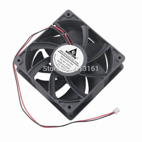 2Pcs Gdstime 120mm DC 48V 12038 12cm 0.25A Dual Ball Bearing Cooler Cooling Fan
