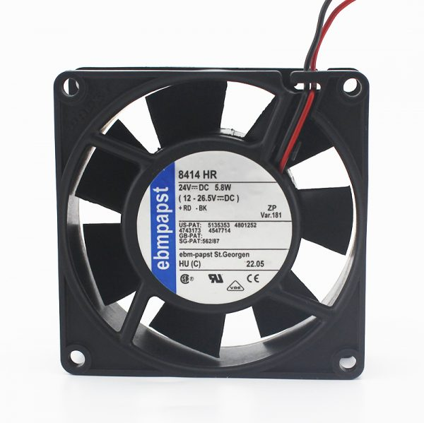 ebmpapst TYP 8414HR 8414 HR DC 24V 5.8W 2-wire 80X80X25mm Server Square Fan