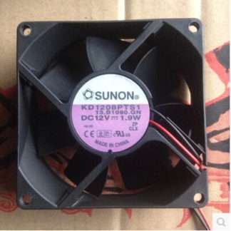 The original SUNON 8 cm 80*80*25 12V 1.9W KD1208PTS1 2 wire power supply chassis cooling fan