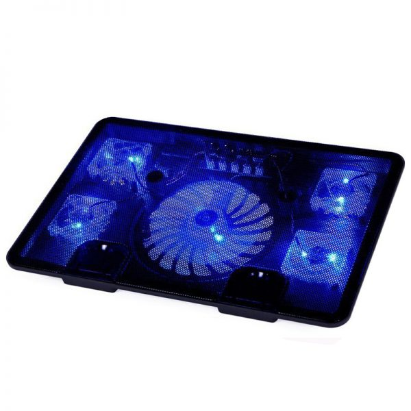 "NAJU Laptop Cooler Pad 14"" 15.6"" 17"" with 5 fans 2 USB Port slide-proof stand Cooler Notebook Cooling Fan with light"