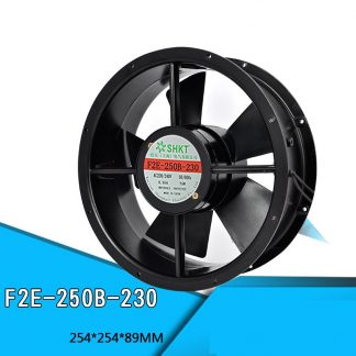 F2E-250B-230 220V Axial Fan Cabinet Cooling Fan 254*254*89mm 75W 0.3A Double Ball Bearing Pure Copper Motor Full Metal Blower