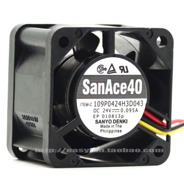 Sanyo 109P0424H3D043 DC 24V 0.095A 40x40x28mm Server Square fan