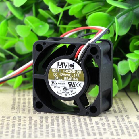 Original AVC F4020B12H 12V 0.17A 40*40*20 4CM 2 wire double ball cooling fan