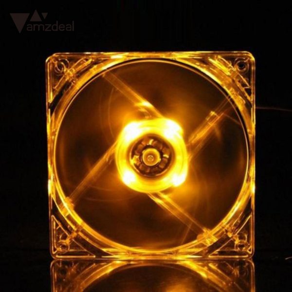amzdeal 4 Pin 120mm CPU Cooling Fan Heat Radiation Fan Computer Case Quad LED Light 9-Blade CPU Cooling Fan Hot Sale