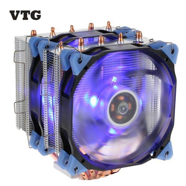 VTG 5 Heatpipe Radiator 4pin CPU Cooler Fan Cooling 5 Direct Contact Heatpipes with 120mm Fan for Desktop Computer PC Case Intel
