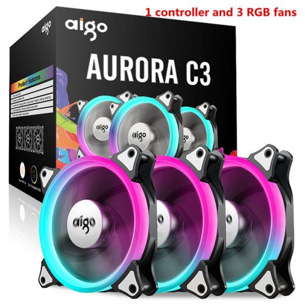 Aigo C3 C5 fan PC Computer Case Cooler Cooling fan LED 120 mm fans mute RGB Case fans