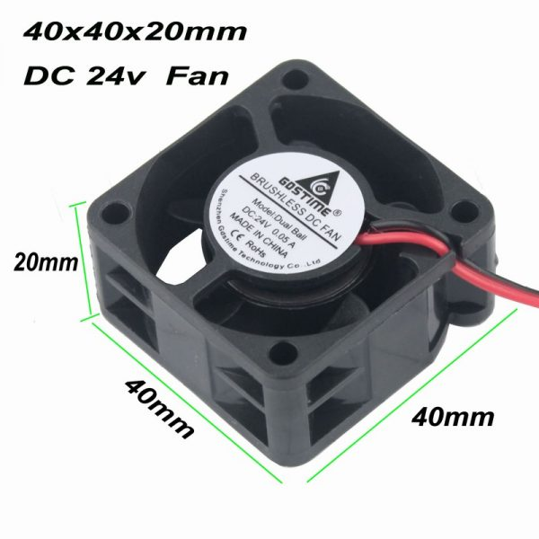 Gdstime 1 pcs 1.57 inch Small Axial Fan 24V Ball Bearing 40mm x 20mm DC Brushless Cooling Fan 40x40mm 4020 4cm 2 Pin