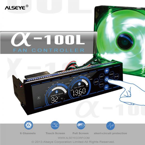 ALSEYE a-100L(B) Fan Controller, Blue Touch Screen 6 Channels Computer Fan speed control for CPU Cooler/Water Cooling