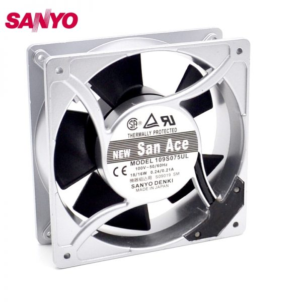 SANYO New 12038 100V 115V 109S075UL 18W 0.24A low noice fan 120*120*38mm