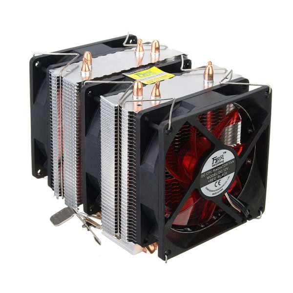 Three CPU Cooler Fan 4 Copper Pipe Cooling Fan Red LED Aluminum Heatsink for Intel LGA775 / 1156/1155 AMD AM2 / AM2 + / AM3 ED
