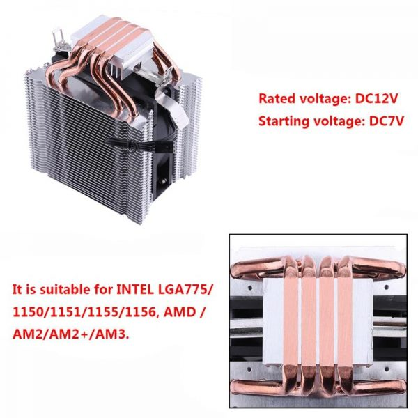 3Pin 12V CPU Cooling Cooler Copper and Aluminum 110W Heat Pipe Heatsink Fan for Intel LGA1150 AMD Computer Cooler Cooling Fan