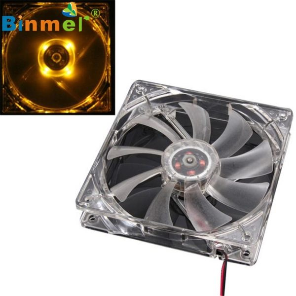 Binmer OrangeQuad 4-LED Light Neon Clear 120mm PC Computer Case Cooling Fan Mod td523 dropship