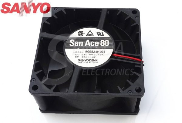 Sanyo 9G0824H104 8038 8cm 80mm DC 24V 0.42A server inverter cooling fan