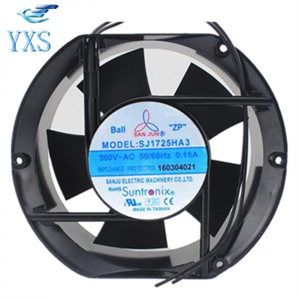 SJ1725HA3 AC 380V 0.15A 50/60HZ 38W/53W 3000RPM 17251 17CM 172*150*51mm 2 Wires Ball Bearing Industrial Cooling Fan