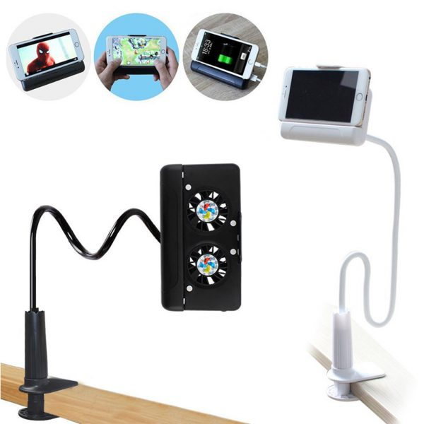 4 in 1 Portable Cell Phone Cooler Cooling + Power Bank + Double Stand + Gooseneck Stand for Game Movie QJY99