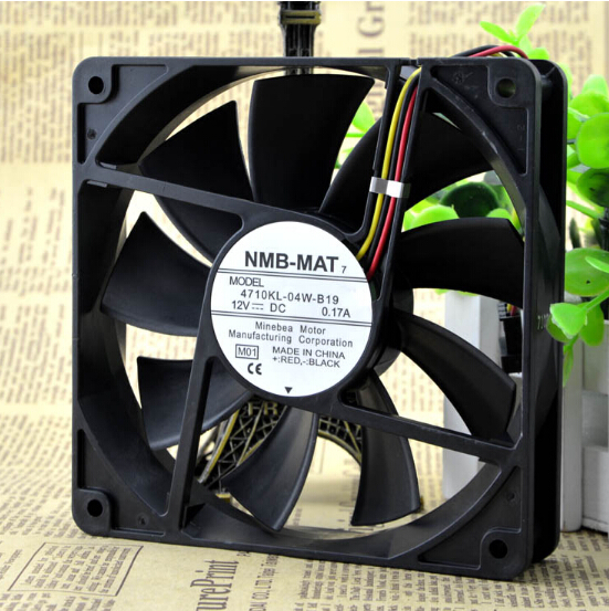 Genuine NMB 4710KL-04W-B19 12CM 120*120*25 0.17A 12V 3 pin mute professional chassis fan