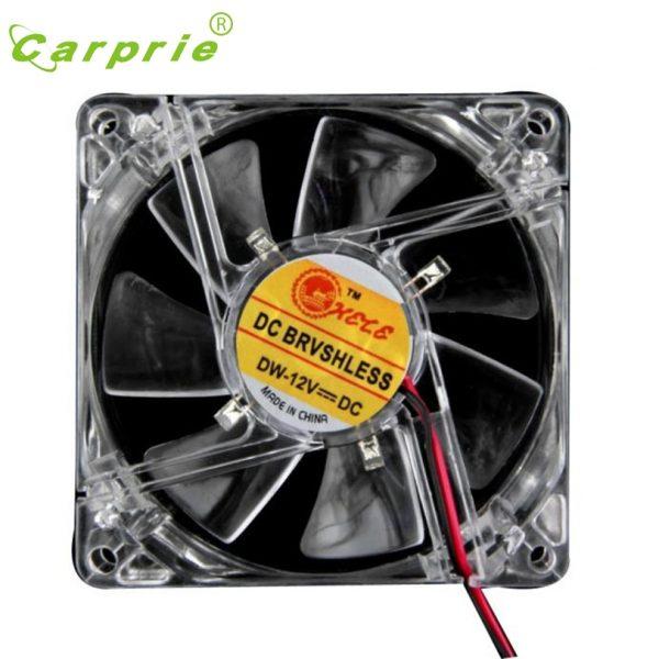 CARPRIE Colorful Quad 4-LED Light Neon Cooler 80x80x25mm Clear 10.8-13.2VDC PC Computer Case Cooling Fan Mod Mar30