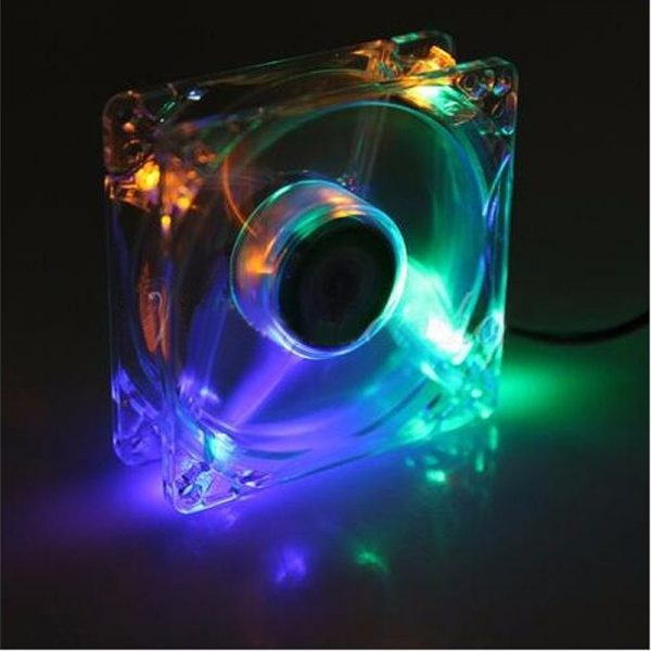 Brand New PC Computer Fan 80mm With 4ea Led 8025 8cm Silent DC 12V LED Luminous Chassis Molex 4D Plug Axial Fan