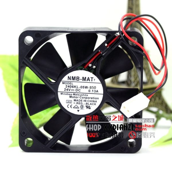 Free Delivery.2406KL-05W-B50 6015 6CM 0.13A 24V small motor inverter cooling fan