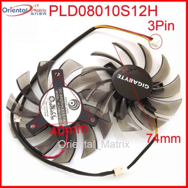 Free Shipping 2pcs/lot PLD08010S12H 3Pin 74mm DC12V 0.25A 40*40*40mm For GIGABYTE Graphics Card Cooler Cooling Fan