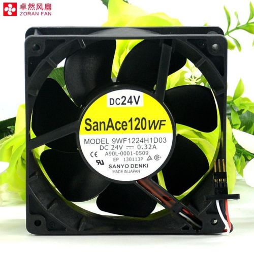 9WF1224H1D03 A90L-0001-0509 SANYO FAN Waterproof 3-wire for fanuc 120*120*38mm