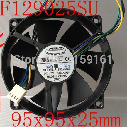 Free Shipping EVERFLOW F129025SU 9025 12V 0.38A four line speed cooling fan CPU fan